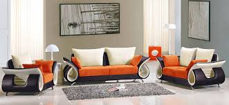 Burnt Orange Leather Living Room Set Bedroom Engaging Orange