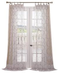 floina silver embroidered sheer curtain single panel terranean curtains
