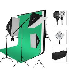 hy photography studio lights continuous soft box lighting kit 45w 5500k daylight soft box 20x26 background support stand 10x6 5ft 3 backdrops