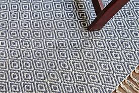 hand woven flatweave 3 x 6 blue diamond pattern area rug style 2040 rugolution rugs