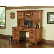 home office computer desk hutch. Home Styles Arts And Crafts Cottage Oak Pedestal Desk Hutch Set | Overstock.com Shopping - The Best Deals On Desks Office Computer
