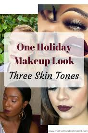 holiday makeup look on 3 diffe skintones