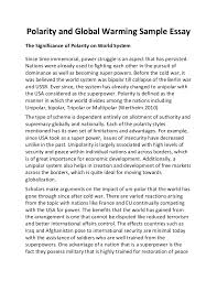 polarity and global warming sample essay