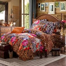 brilliant brown pink and orange y jungle safari themed leopard and flower african bedding set prepare