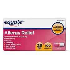 Equate Allergy Relief Diphenhydramine Antihistamine Capsules, 25 mg ...
