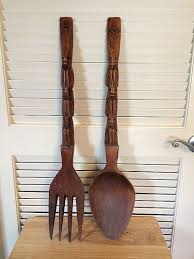 large wooden fork and spoon wall hanging designs