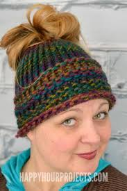 Loom Hat Patterns Fascinating Loom Knit Messy Bun Hat FaveCrafts