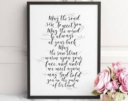 quote print irish bible verse irish blessing printable decor wall art decor may the road typography calligraphy wedding print home decor on irish blessing wall art with quote print irish blessing printable decor wall art decor