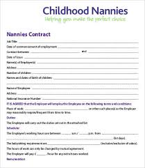 Nanny Contracts 100 Sample Nanny Contract Templates Free Sample Example Format 2