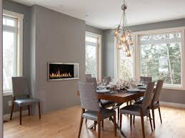 luxury mid century dining room decor light with gray wall paint color and electric fireplace for contemporary decorating idea table chair set bench uk
