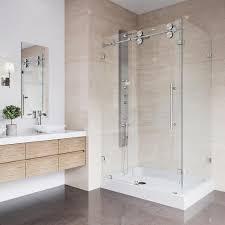 vigo winslow 48 125 in x 79 875 in frameless bypass shower enclosure in stainless steel