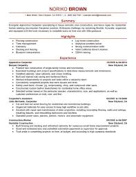 Apprentice Carpenter Resume Sample Carpenter Resumes Livecareer