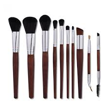 qeri 10 pieces makeup brush set professional make up brushes with wood handle premium synthetic kabuki