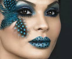 exotic blue theatre makeup polka dot lips