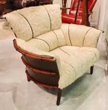 44 w club chair light beige brindle leather exotic wood frame hand