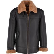 sheepskin flying jacket black ginger hunter