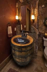 whiskey barrel sink hammered copper rustic antique bathroom bar man cave vanity wine oak barrel vanity bourbon custom orders authentic jim beam whiskey barrel table