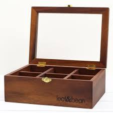 acacia wood tea box