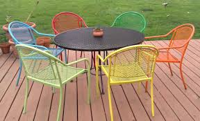 outdoor metal table set. Painting Metal Patio Furniture With Six Chairs And Round Table Outdoor Set W