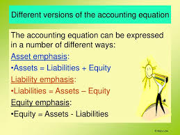diffe versions of the accounting equation