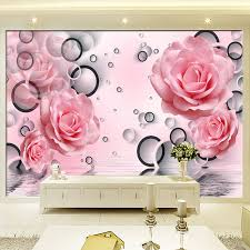 Modern Simple Pink Rose Circle Photo Wallpaper Living Room Bedroom Backdrop  Wall Home Decor 3D Wall