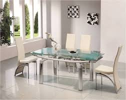 Glass Chrome Dining Room Table Amp  Chairs Set Furniture - Dining room chair sets 6
