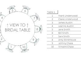 reception table seating chart template wedding round tables r