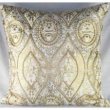 design accents medium velvet pillow in ivory and gold  anai