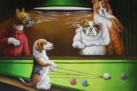 creative pictures of dogs playing pool 0