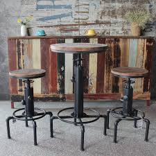 Bar Stools Morden Pinewood Top Round Table Chair Height Adjustable