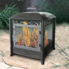landmann usa black steel outdoor wood burning fireplace