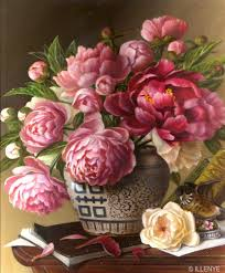 large classical fl oil painting pink peonies blue white double happiness porcelain jar books lefton baby robin figurine traditional
