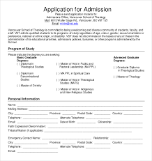 Application Template And Form Sample For School Admission