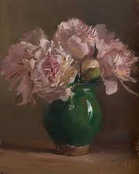 daily painting titled peonies in a provençal vase