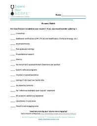 What Should Not Be Included In A Resume Resume Rubric