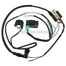 popular atv wiring harness buy cheap atv wiring harness lots from complete kick start engine wiring harness loom cdi box ignition coil kill switch 50 70 90