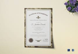 Certificate Of Training Completion Template Army Camo Training Completion Certificate Template