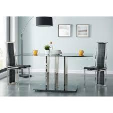 Table a manger en verre trempe extensible - Achat / Vente pas cher