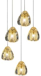 terzani mizu 5 suspension light in gold