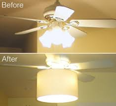diy ceiling fan makeover drum shade tutorial shows how to attach to piece