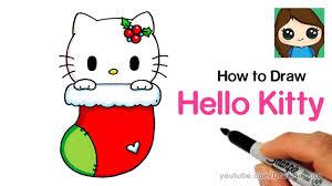How To Draw Hello Kitty Christmas Stocking Easy