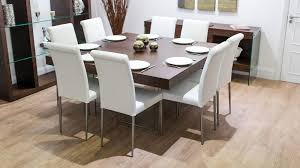 funky thick dark wood table glass legs real leather dining chairs funky dining tables