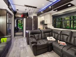 interior photo of a 2019 keystone rv raptor 425ts toy hauler