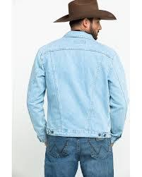 Wrangler Mens Unlined Gold Buckle Bleached Denim Jacket