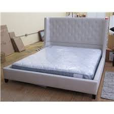 Lt. Gray Upholstered King Size Bed w/Mattress and Split Box Springs ...