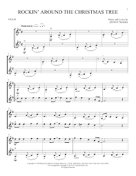 Violin fingerings included, with mp3 music accompaniment tracks. Rockin Around The Christmas Tree Violin Duet Print Sheet Music