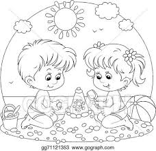 kids at the beach clipart black and white. Wonderful Beach Children Playing On A Beach With Kids At The Beach Clipart Black And White M