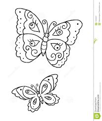 Pagina Del Libro Da Colorare Con Due Farfalle Illustrazione Di Stock