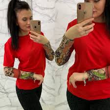 футболка с рукавами тату рукава капрон размера 42 44 44 46 цвета разные 226