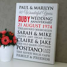 40th anniversary ideas ruby wedding gifts ideas eskayalitim personalised ruby wedding anniversary art by a type